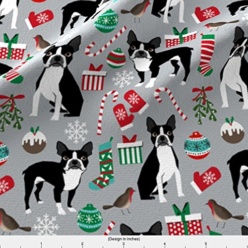 Spoonflower Dog Christmas Fabric Boston Terrier Christmas Fabric Cute Xmas Holiday Dogs Design Cute Christmas Fabrics For Dogs by Petfriendly Printed on Basic Cotton Ultra Fabric by the Yard - Boston Terrier Fabric