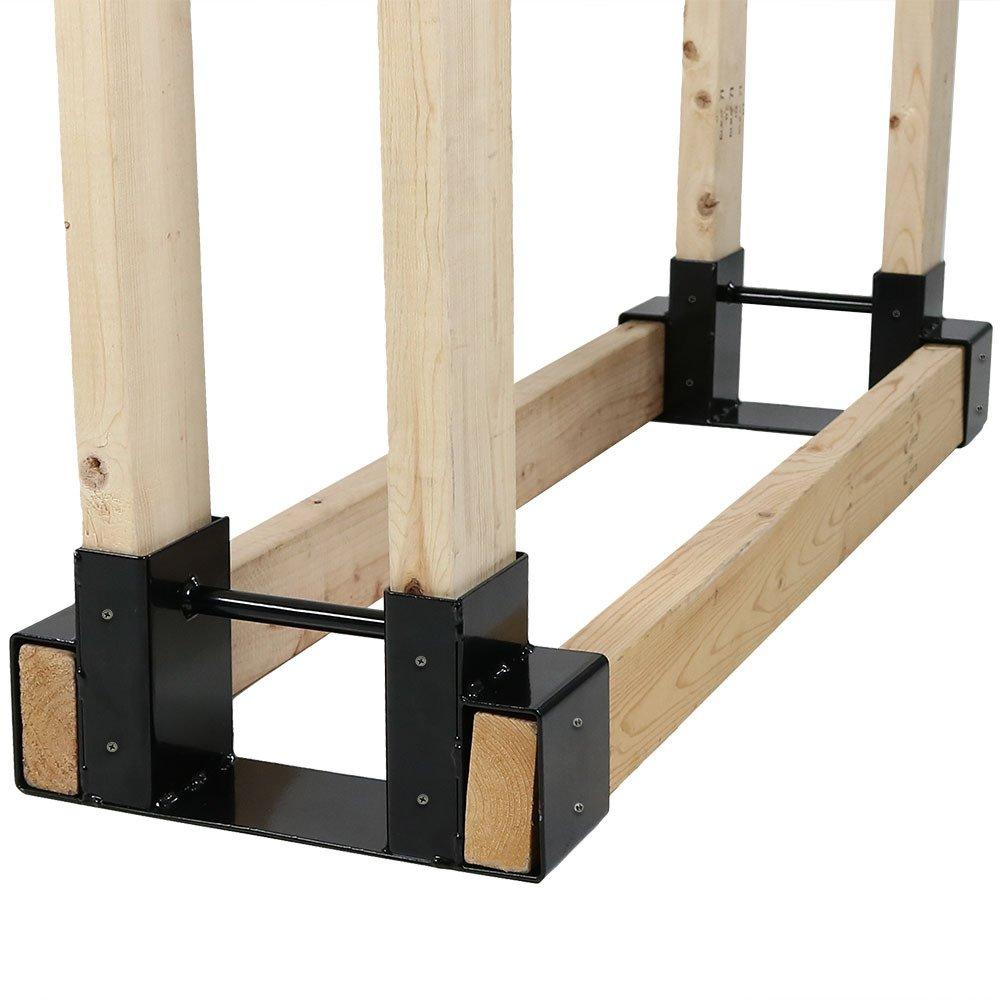Sunnydaze Outdoor Firewood Log Rack Bracket Kit, Fireplace Wood Storage Holder - Adjustable to Any Length