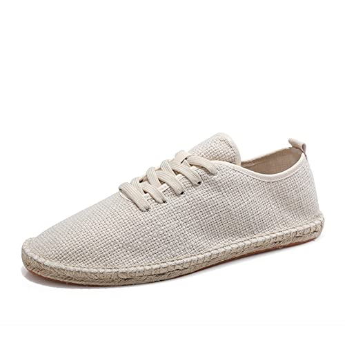 Zapatos con Cordones Lona Beige Alpargatas para Hombre Lino Espadrilles: Amazon.es: Zapatos y complementos