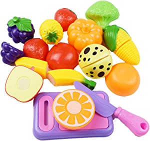 KAREZONINE Play Food Set 12 Pieces, Play Kitchen Cutting Vegetables Fruits Food Toys for Kids Kitchen, Pretend Food for Toddler