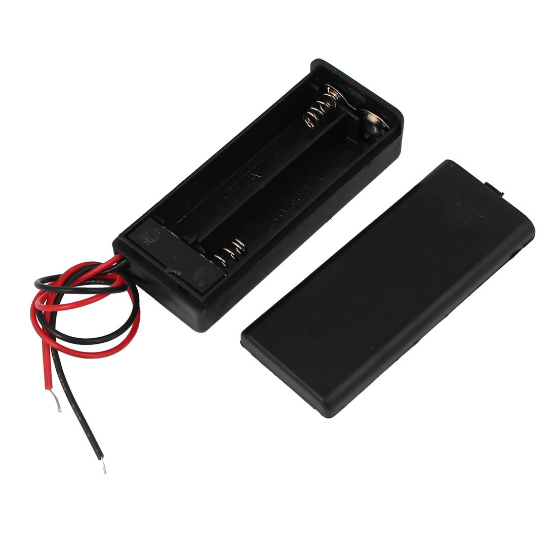 3V Output 2 x AA Battery Holder Black ABS Enclosed Box On-Off Switch 160mm Leads