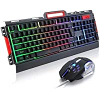 Kit Gamer Profissionl Teclado e Mouse Exbom BK-G3000 com Iluminação LED Acabamento em Metal Usb 2.0 Preto