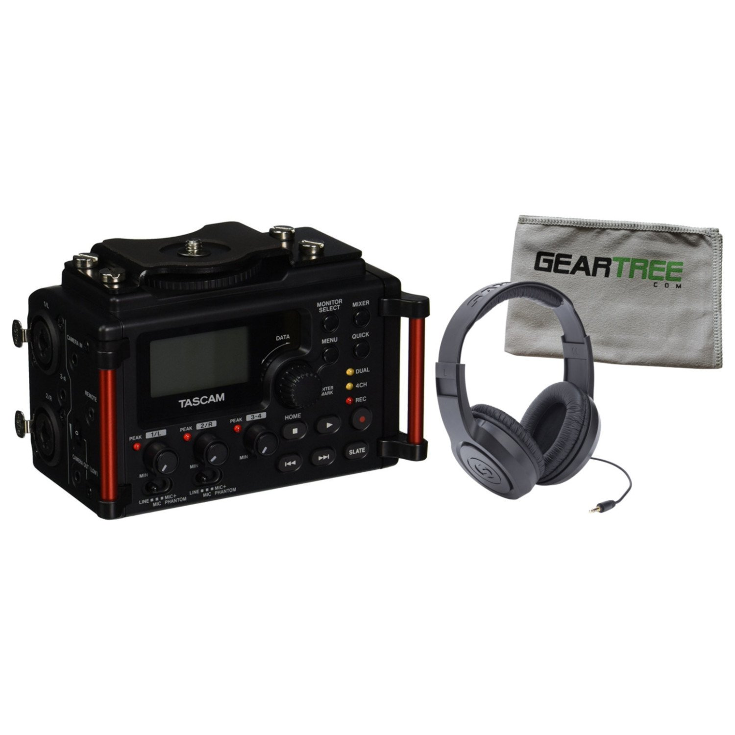 Tascam DR-60DmkII 4 Track Portable Recorder for DSLR w/Geartree Cloth and Headp