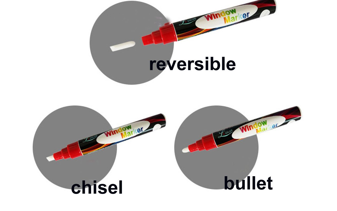 8 Pack Chalk Marker Pen Dry Erase Markers 6mm Reversible Bullet & Chisel Tip Fluorescent Markers Highlighters for LED Menu Board Bistro Board AD Drawing POP Art Glass Window Blackboard WhiteBoard by Starsouce (Image #5)