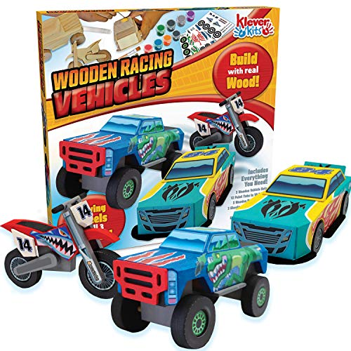 JOYIN Klever Kits Kids Craft Kit Build & Paint Your Own Wooden Race Car Art & Craft Kit DIY Toy Make Your Own Car Truck Toy Construct and Paint Craft Kit