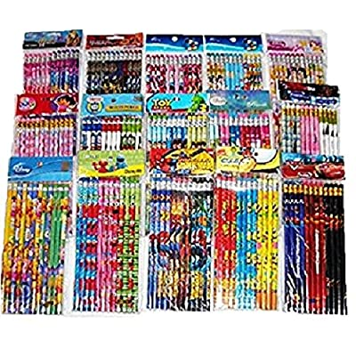 Disney 180 pcs Nickelodean DreamWorks Marvel Cartoon Character Licensed Wooden Pencil School Party Bag Fillers Supply: Toys & Games