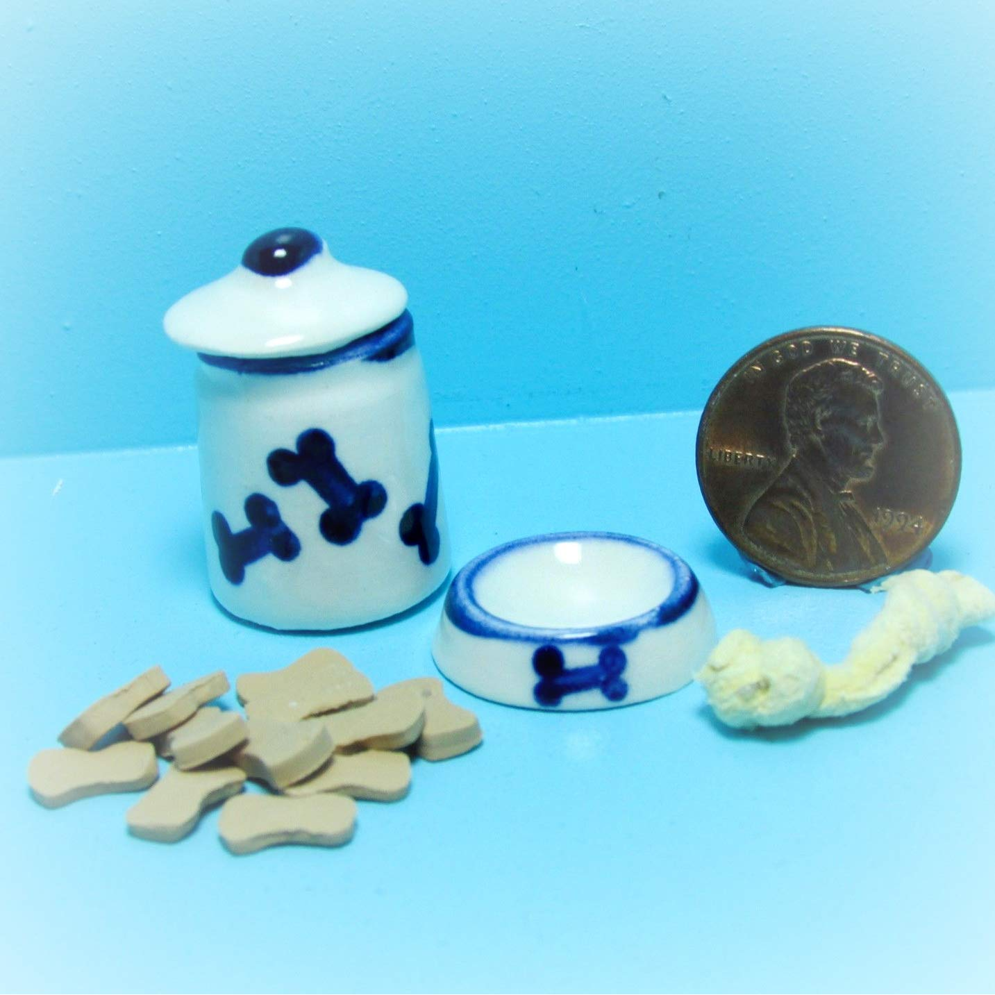 Dollhouse Dog Treats Canister Matching Bowl Toy Set KL2312 - Miniature Scene Supplies Your Fairy Garden - Doll House - Outdoor House Decor by New Garden Miniature (Image #1)