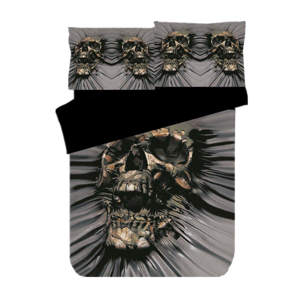 Koongso Lightweight Microfiber Tattoo Beauty Skull Print Duvet Cover Set Teens Adult,Ultra Comfy,Zipper Closure,Twin/Full/Queen/King Size