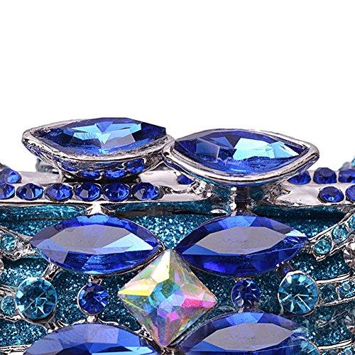 Flada mujeres huecos de metal rhinestones 3D embragues monederos para damas bolsas de hombro con cadena naranja Azul