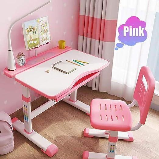 Sunzy Juego de Mesa de Estudio para niños, el multiplex Puede traer una Caja de Almacenamiento de luz de Ojo LED, portavasos, Mesa y Silla de Altura Ajustable para niños y niñas,Pink: