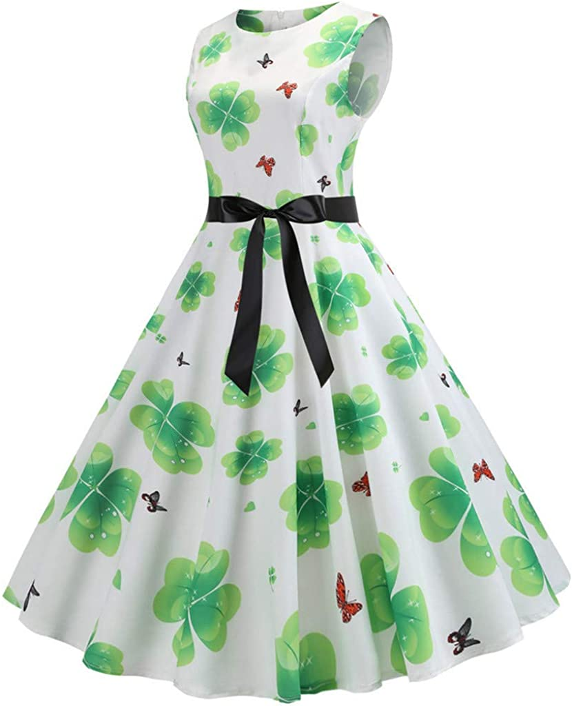 Rikay Dress Womens St Patricks Day Ball Gown Skirt Sleeveless Vintage Print Lace Stitching Swing Prom Dress with Belt