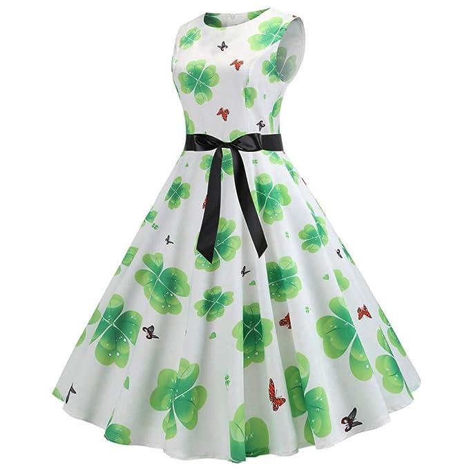 Cebbay Vestido Vintage Liquidación Dia de San Patricio Impresión O-Cuello Falda Larga Vestido de Noche(Verde, S-XXL): Amazon.es: Ropa y accesorios
