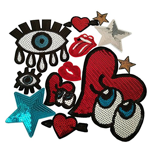 12pcs Assorted Eye Star Mouth Hand Love Beard Embroidered Iron On Patch Multi-color Badge Stripes Applique (Style B)