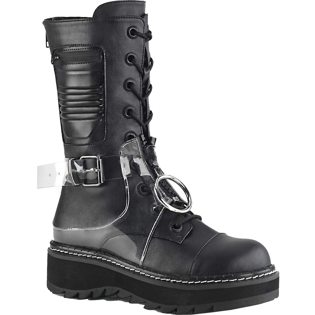Blk Vegan Leather-clear Pvc Demonia Womens LILITH-271 BVL-PVC Boots