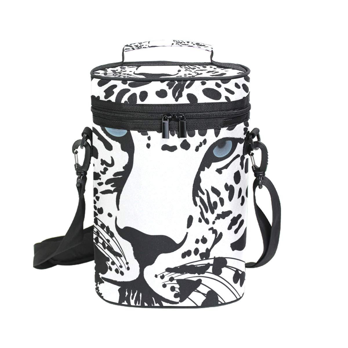 COOSUN Bolsa de vino aislada con diseño de tigre blanco y negro - Bolsa de viaje con asa y correa ajustable para el hombro