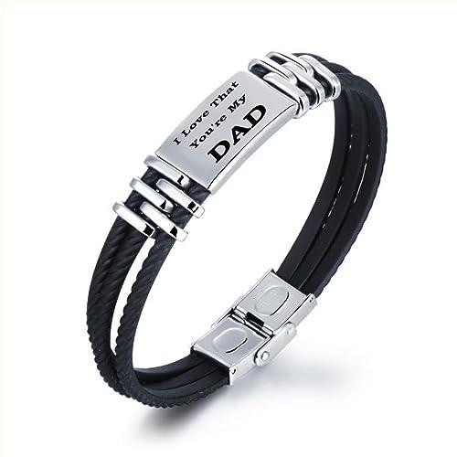 Herren Fantastisch Schwarz Edelstahl Gummi Armband Armreif Jungen Cool Armband