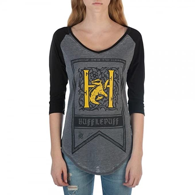 a791ba479dbf1 HARRY POTTER Hufflepuff House Crest Flag Juniors 3 4 Sleeve Raglan T-Shirts  (