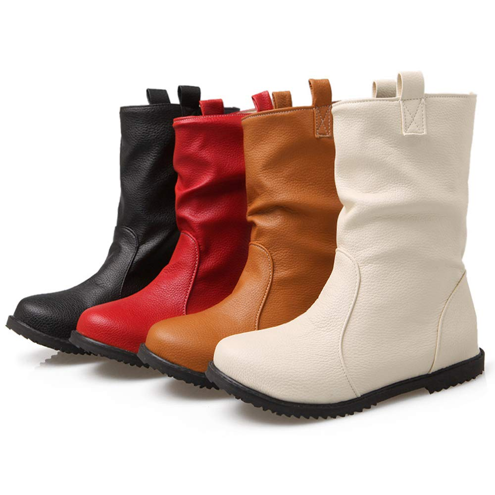 Autumn Women's Bootsfashion Boots Large Size Women's Boots Flat Boots Martin Bootsfashion Women's Boots,Red,UK12/EUR46 B07G92T6CQ Boots dfbb11