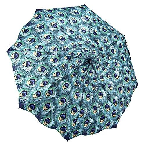 Galleria Peacock, Auto-Open/Close Extra Large Portable Rain Folding Umbrella (Umbrella Good Cheap)