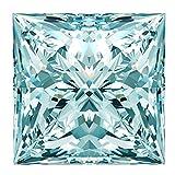 RINGJEWEL 1.68 CT VVS1 Princess Cut Loose Real Moissanite Use 4 Pendant/Ring Off White Ice Blue Color