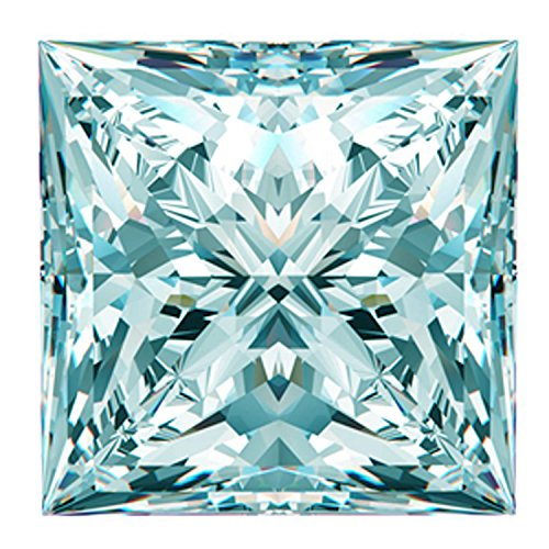 RINGJEWEL 1.63 CT VS1 Princess Cut Loose Real Moissanite Use 4 Pendant/Ring Off White Ice Blue Color
