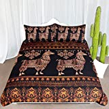 ARIGHTEX Abstract Llama Bedding 3 Piece Bohemian Exotic Alpaca Duvet Cover Tribal Animal Bedspreads for South American Themed Bedroom (King)