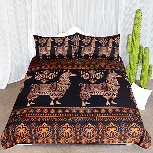 ARIGHTEX Abstract Llama Bedding 3 Piece Bohemian Exotic Alpaca Duvet Cover Tribal Animal Bedspreads for South American Themed Bedroom (King) by ARIGHTEX