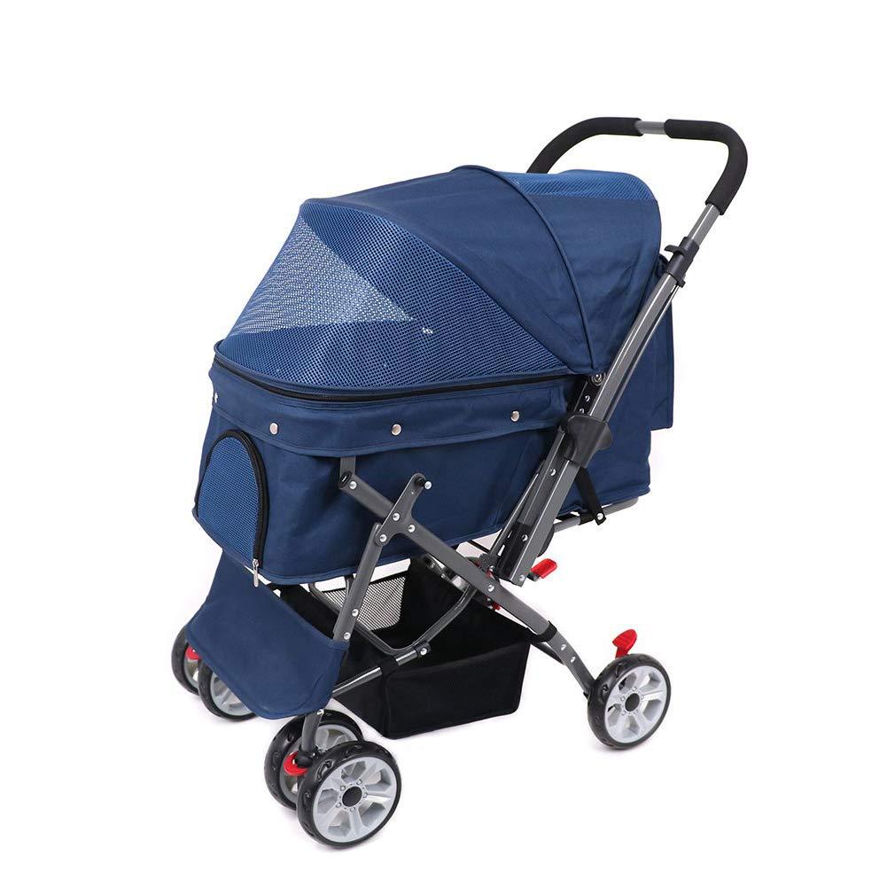 bluee BDFA Pet Stroller Shockproof Durable Stroller Adjustable Direction,One-click Folding,Quick Inssizetion,Suitable For Travel