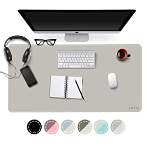 """EMINTA Dual Sided Office Desk Pad, New Upgrade Sewing Waterproof PU Leather Large Mouse Mat Desk Blotter Protector, Ultra Thin Desk Writing Mat for Office/Home (Gray/Silver, 31.5"""" x 15.7"""")"""