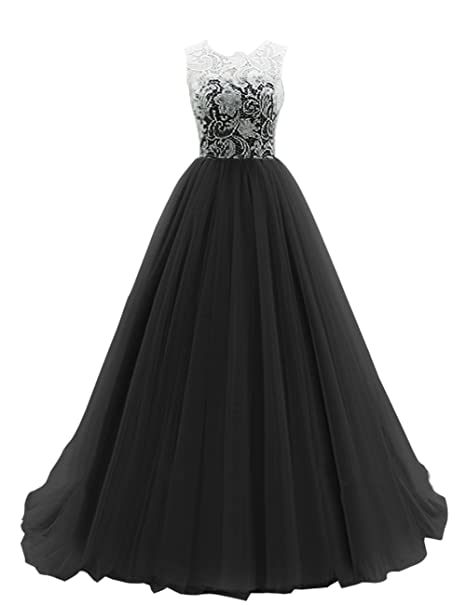 Dresstells Long Prom Dress Tulle Evening Dance Bridesmadi Gown With Lace