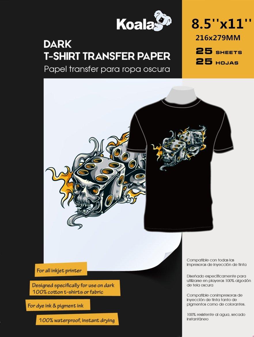 Koala 25 Sheets Iron-On Dark T Shirt Transfer Paper 8.5x11 inch ,for all Inkjet Printer
