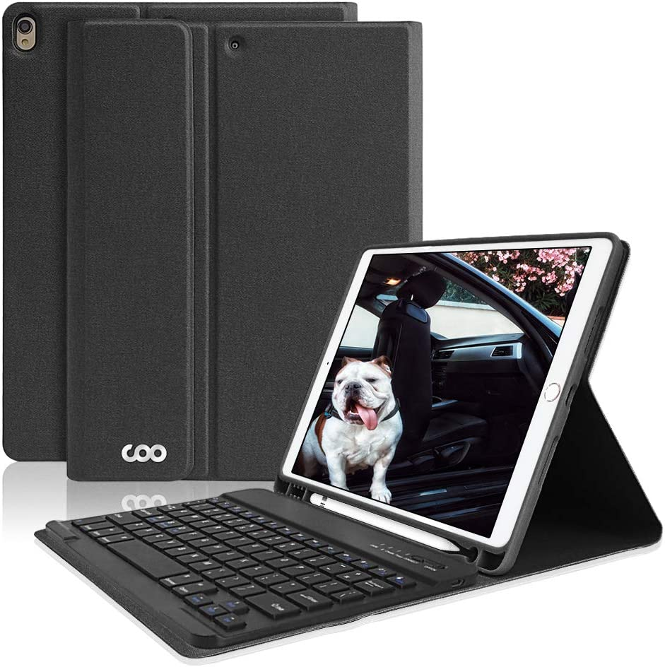 """iPad Pro 10.5 Keyboard Case with Built-in Pencil Holder, COO Keyboard Case for iPad Air 3 10.5"""" 2019 (3rd Gen)/iPad Pro 10.5"""" 2017- Detachable Bluetooth Keyboard, Magnetic PU Leather Cover (Black-1)"""