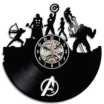 Relojes de Pared Silencioso de Vinilo The Avengers