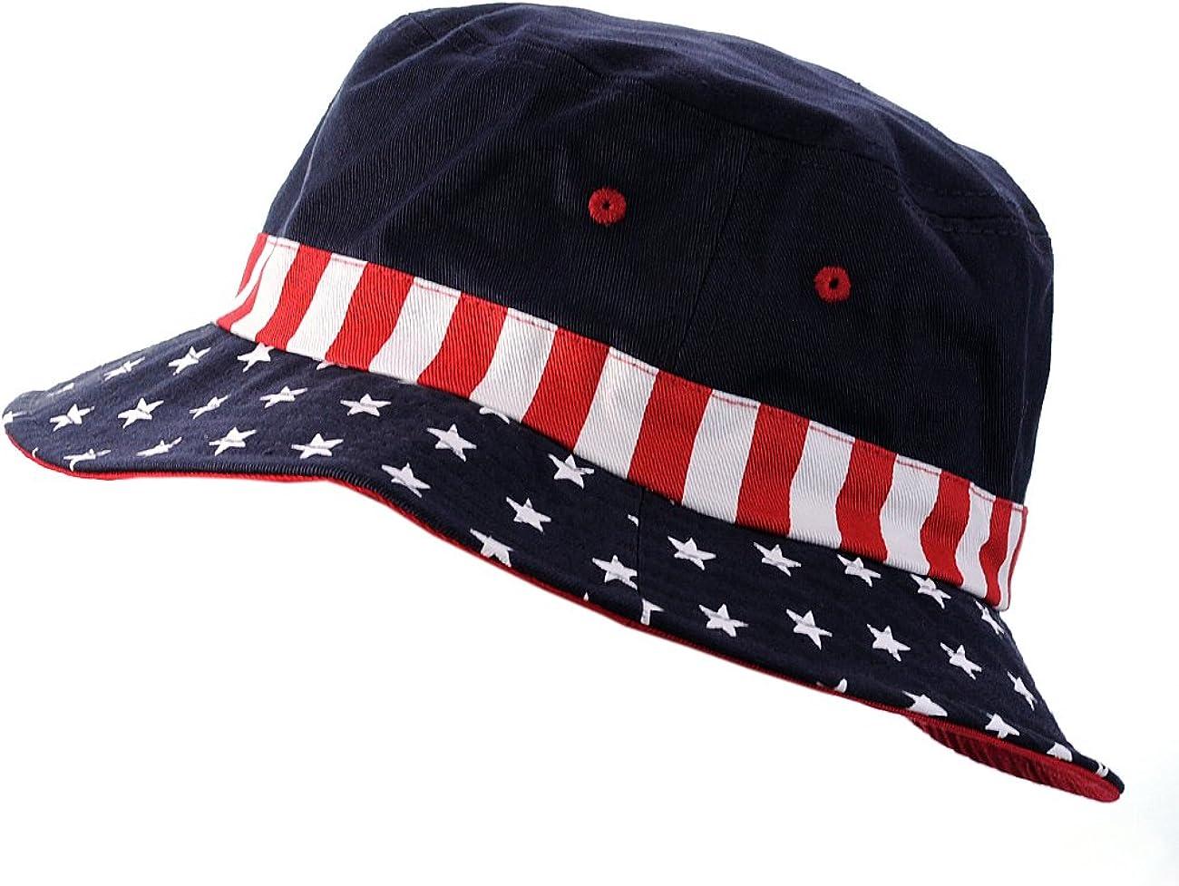 Pick Color USA Flag Fashion Bucket Hat American Flag Cap Unisex 100/% Cotton