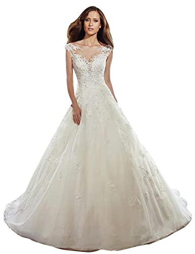 Nina Ding V-Neck Lace A-Line Wedding Dress NND011 at Amazon Womens Clothing store: