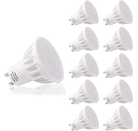 LOHAS No-Regulable 6Watt GU10 LED Bombillas, Equivalente a 50Watt Lámpara Incandescente, Blanco