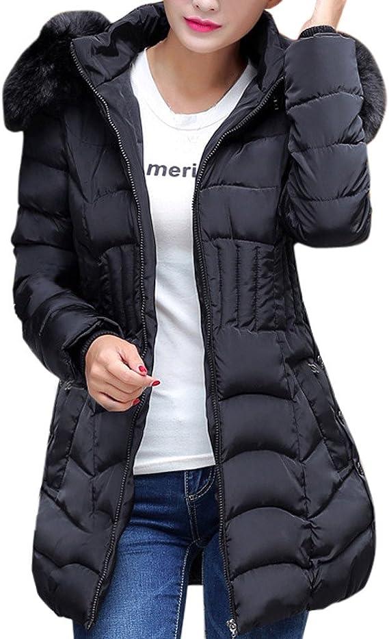 Limsea Women Winter Warm Faux Fur Hooded Zipper Short Slim Cotton-Padded Jackets Coat