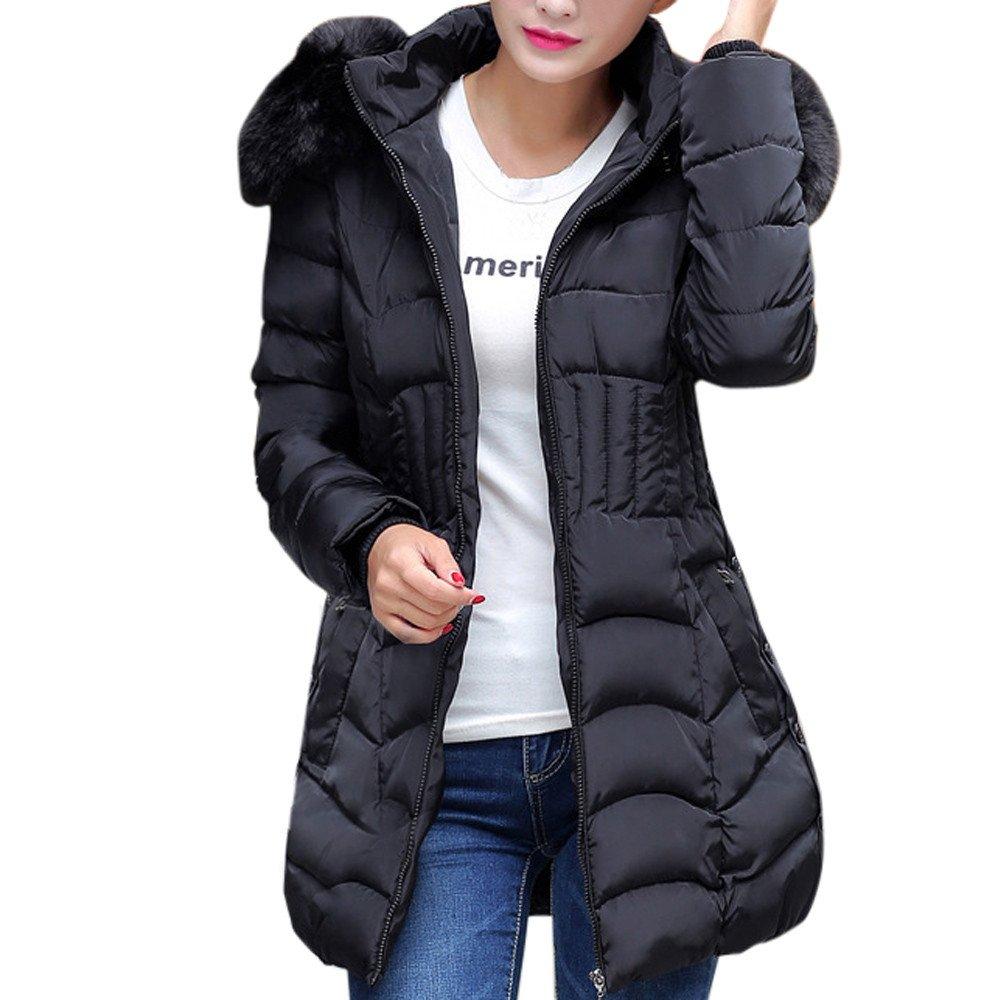 Black Large Balakie Womens Winter Long Jacket Fur Hood Coat Slim Solid Zipper Parka Outwear