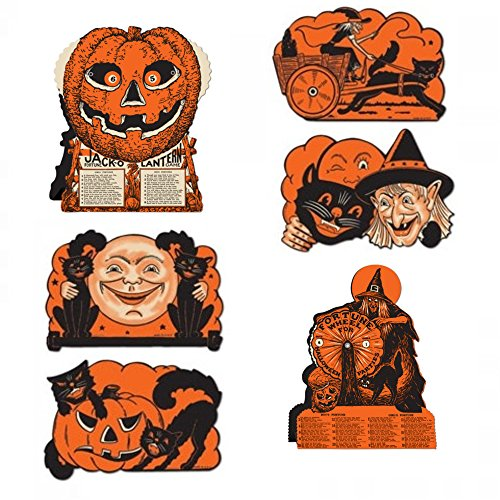 Halloween Fortune Wheel Games - Tissue Centerpieces and Cutout Decorations - Vintage Style