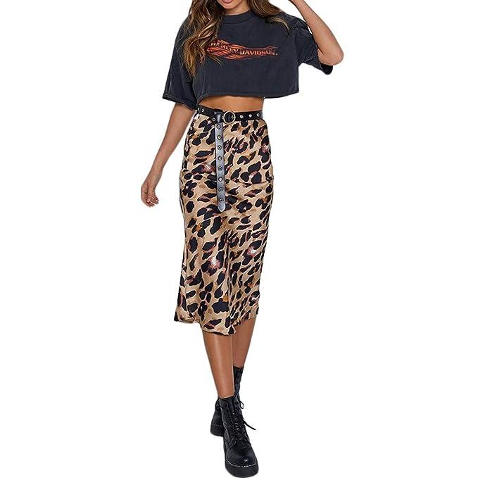 QIYUN.Z Mujeres de Cintura Alta túnica Estampado de Leopardo Sexy ...