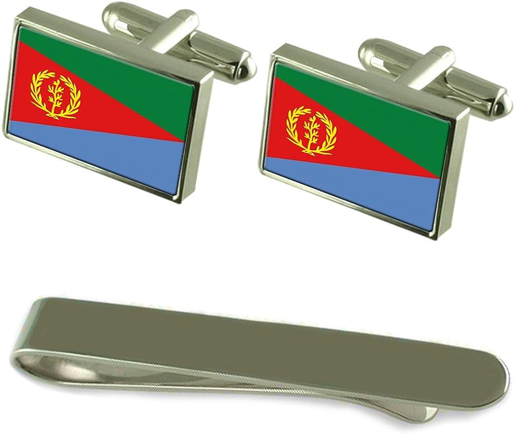 Eritrea Flag Silver Cufflinks Tie Clip Box Gift Set