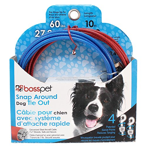 Boss Pet Q2515 000 99 10' Large Dog Snap Around Pdq Tie-Out
