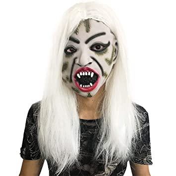 LJSHU Halloween White Hair Witch Mask Devil Horror Ghost Face Paraguas Que Realiza La Decoración del