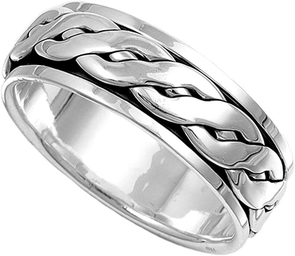 Sterling Silver Mens Celtic Knot Spinner Ring Beautiful 925 Band 8mm Sizes 7-14