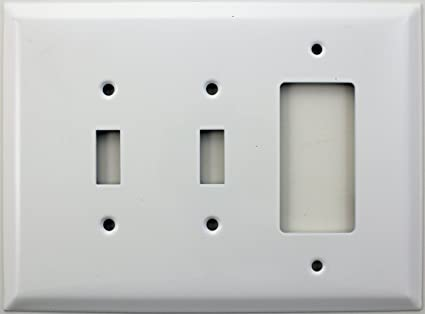 Over Sized Jumbo Smooth White 3 Gang Switch Plate 2 Toggle Light