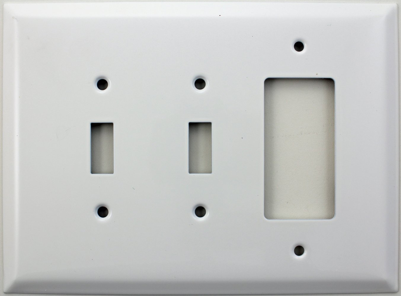 Over Sized Jumbo Smooth White 3 Gang Switch Plate - 2 Toggle Light Switch Openings 1 GFI/Rocker Opening