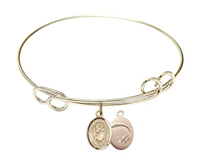 8 1//2 inch Round Double Loop Bangle Bracelet with a St Christopher//Paratroopers charm.