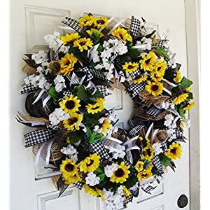 Black White & Yellow Summer Sunflower Front Door Deco Mesh Wreath, Spring Fall Decor, Burlap Wedding Farmhouse, French Country 1