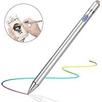 Semiro タッチペン スマートフォン タブレット スタイラスペン 極細 iPad iPhone Android対応 高感度 ツムツム 金属製 軽量 充電式 タッチ ペン 細/太両側使る 銅製ペン先1.45mm 導電繊維ペン先 (シルバー)
