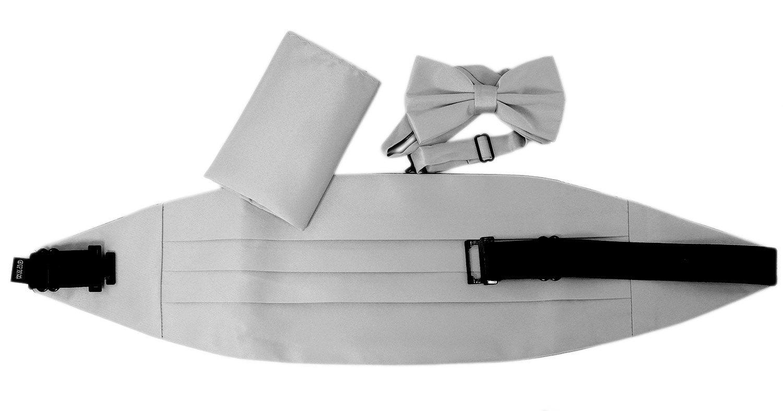 Bow Tie Handkerchief Cummerbund Set Paisley Solid 3pc Mens Combo New by Enimay